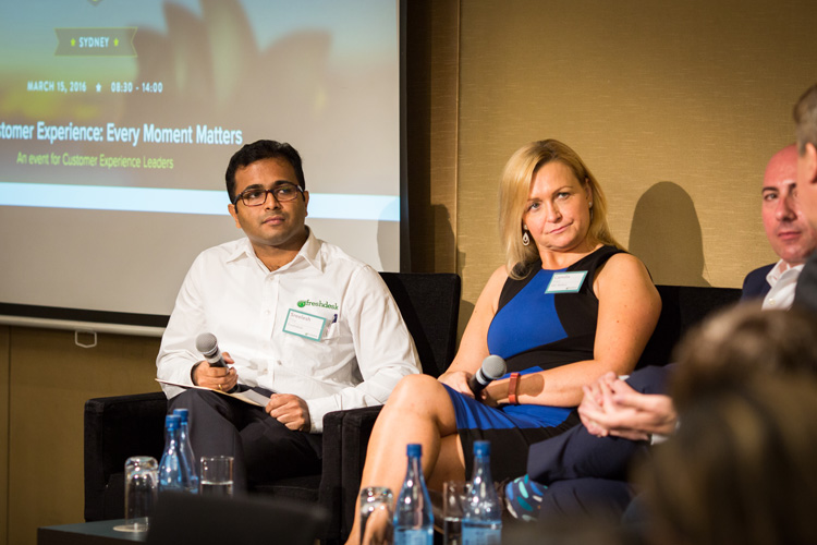 Sreelesh Pillai, General Manager, Freshdesk Australia and Camilla Baker, Account Executive, ABC Bullion, participating in a panel discussion at the Customer Happiness Tour, Sydney.