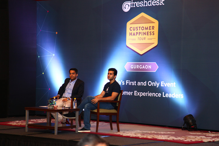 Kavin Bharti Mittal, Founder & CEO, Hike Messenger and Mrigank Tripathi, Founder & CEO, Qustn Technologies interacting during a fireside chat.