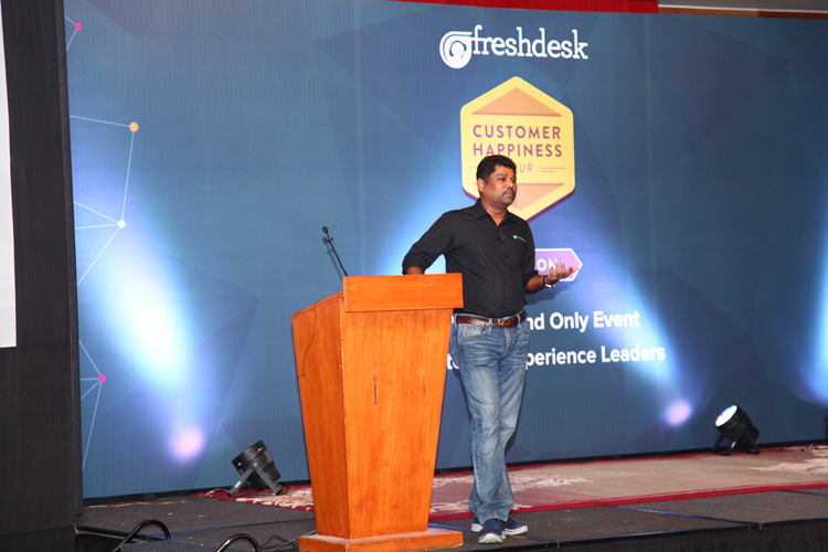Girish Mathrubootham, Founder & CEO, Freshdesk, addressing the gathering at the Customer Happiness Tour, Gurgaon, India.